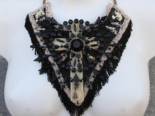 black lacey statement necklace