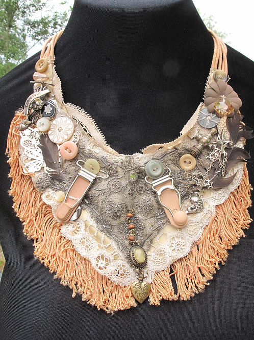 Upcycled Statement bib necklace in lacey dusky with vintage jewellery and button