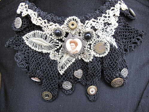 Upcycled Statement bib necklace from lacey black gloves