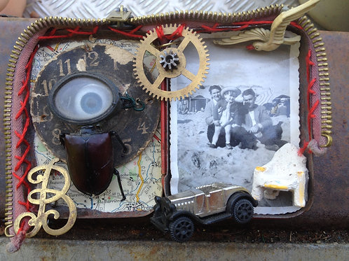 'Beach Life' assemblage art in altered pill tin