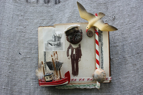 'The boy who sailed to Scotland' assemblage art