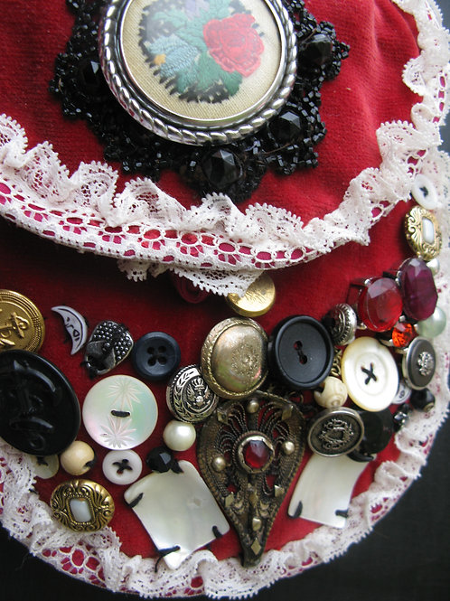Wearable Art:  'Bone red' assemblage on an upcycled shoulder purse