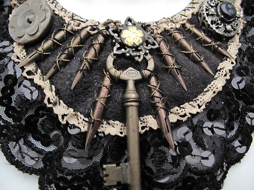 Assemblage art on a statement necklace