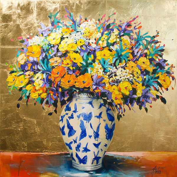 Judith Dalozzo - Irises and Blue Butterf