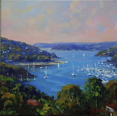 Ted Lewis _ looking over middle harbour 30x30cm