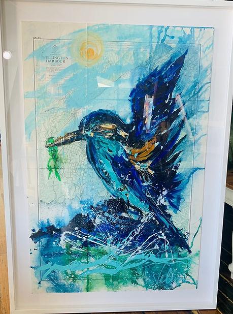 Velia Newman - Kingfisher on Nautical Chart 75h x 102w cm.jpg