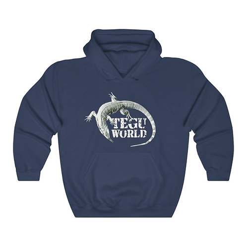Tegu World Hooded Sweatshirt, Tegu, Purple Tegu, Blue Tegu, Hoodie