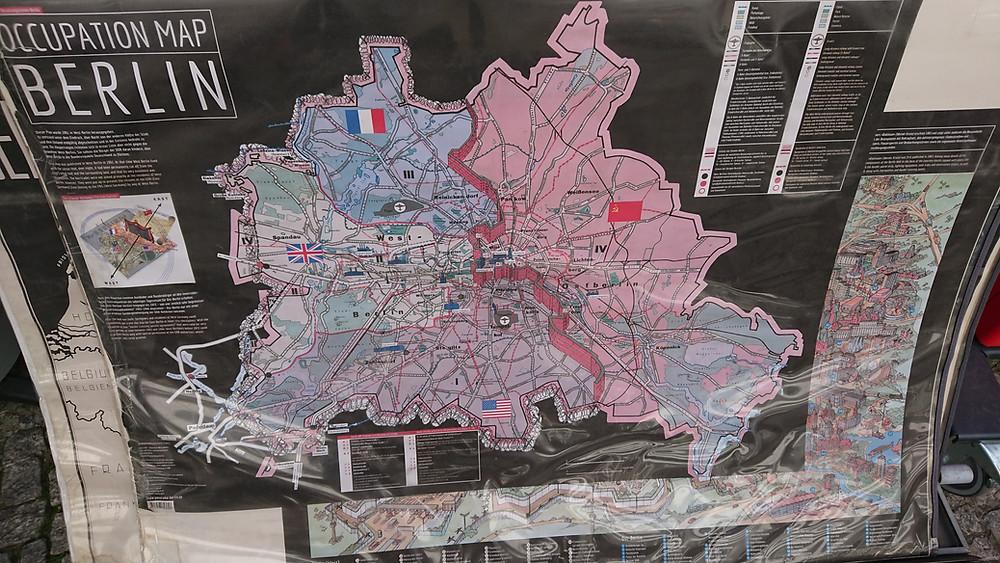 Karta över Berlin, delad stad.