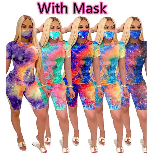 3 Piece Tie Dye with Mask Relaxed Wear