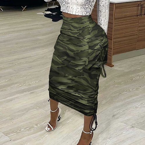 Camouflage Draw String Long Skirt Loungewear