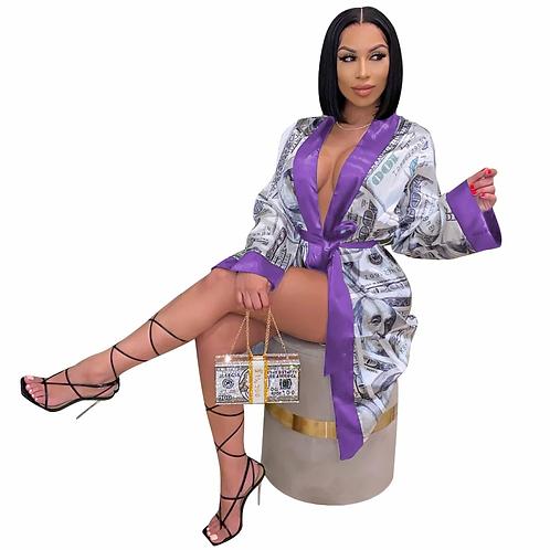 Sexy $ Print Silk Robe Lounge Wear
