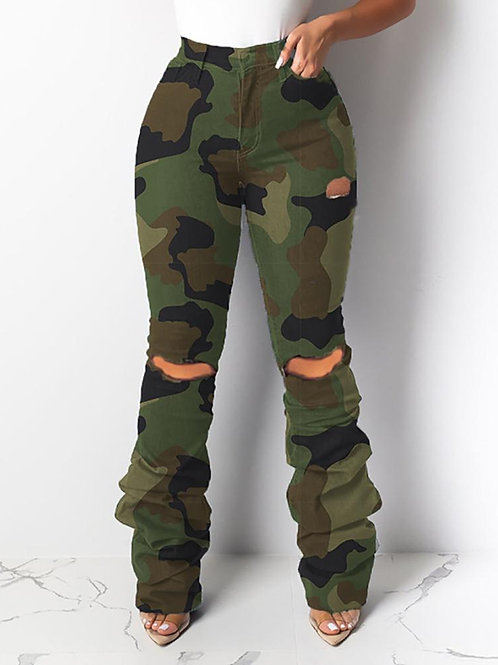 Camouflage Cut Out Loungewear Pants
