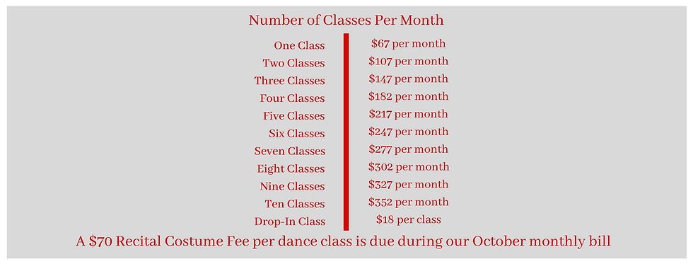 One Class $60 per month Two Classes $90 per month Three Classes $120 per month Four Classe