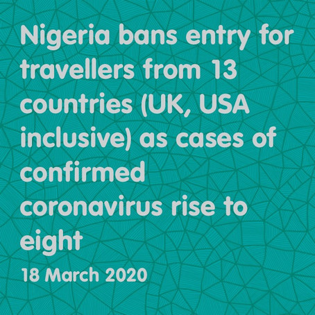 COVID-19: NIGERIA IMPOSES TRAVEL BAN