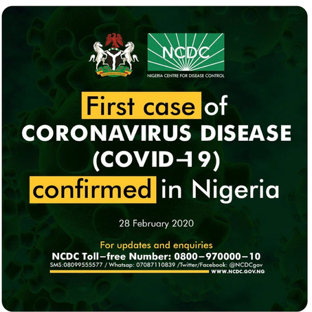 NIGERIA REPORTS ITS FIRST CASE OF CORONAVIRUS