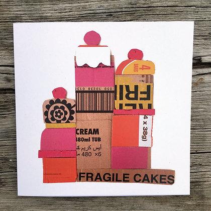 'Fragile Cakes' Greetings Card