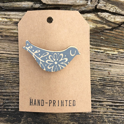 Printed Wood Bird Pin