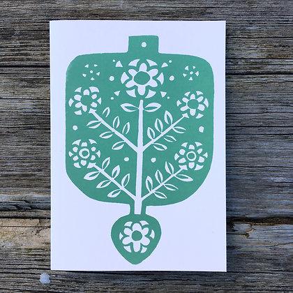 Flowerspoon Handprinted Greetings Card
