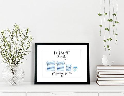 300 PIXELS- Mon affiche de Famille personnalisée - Marinières