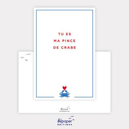 Carte Postale Bilpaper - Tu es ma pince de crabe