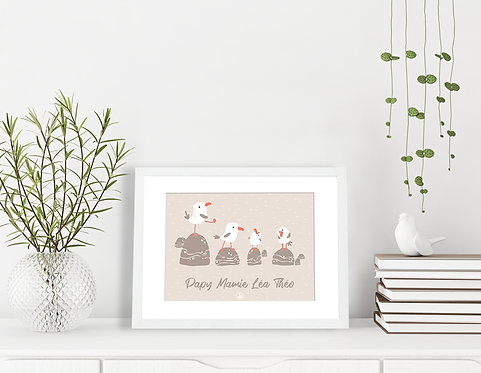 300 PIXELS - Mon affiche de Famille personnalisée Mouettes