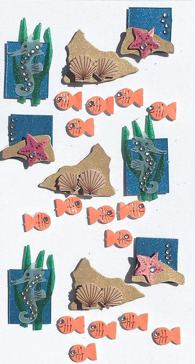 Stickers Artwork 3D - Animaux de la Mer 3