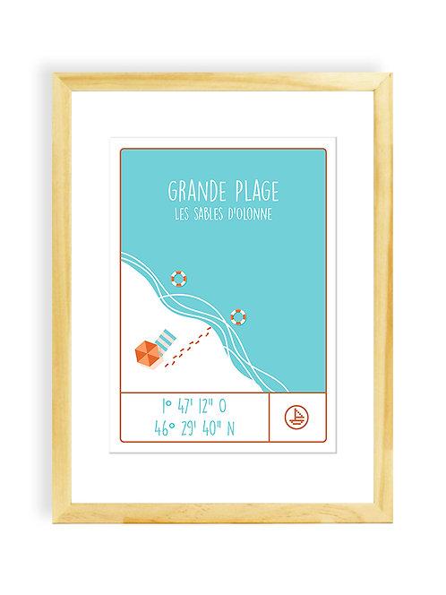 300 PIXELS - Affiche Coordonnées LA GRANDE PLAGE