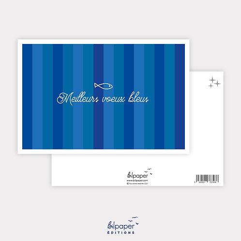 Carte Postale - Meilleurs voeux bleus