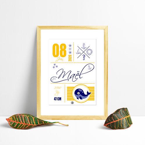 300 PIXELS - Mon affiche de Naissance personnalisée