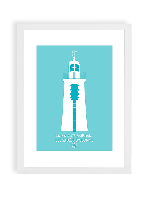 300 Pixels - Affiche Le Phare de la Jetée Saint Nicolas - Les Sables d'Olonne