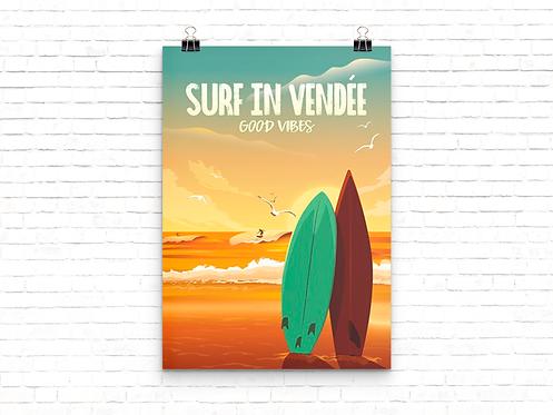 Affiche Surf In Vendée