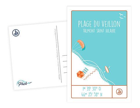 300 PIXELS - Carte Postale COORDONNÉES PLAGE DU VEILLON