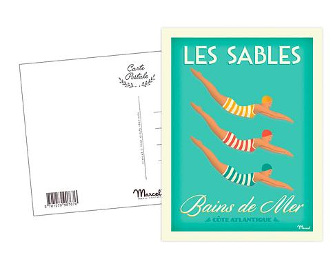 Carte Postale Marcel - Bains de mer aux Sables