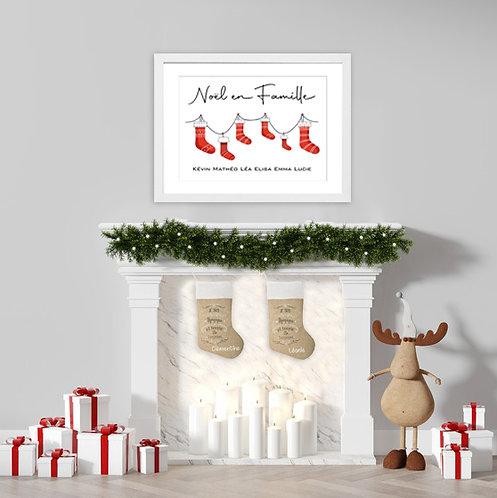 300 Pixels - Mon affiche de Noël personnalisée chaussettes