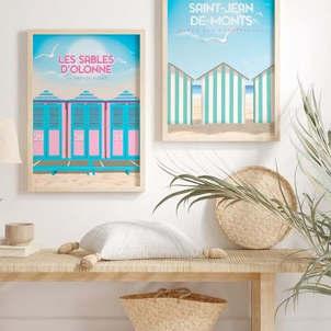 300 PIXELS Poster Affiche Les cabines roses aux Sables d'Olonne