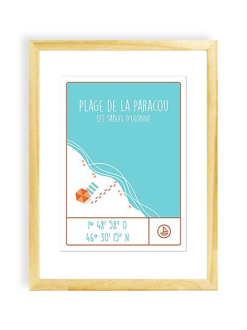 300 Pixels - Affiche Coordonnées PLAGE DE LA PARACOU