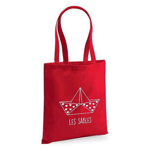 Tote Bag Rouge Coton Bio - Origami - Les Sables