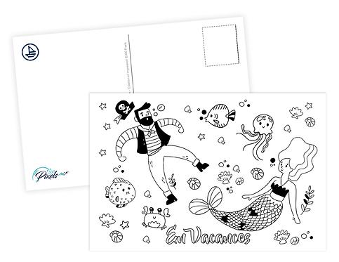 300 PIXELS - Carte à colorier - Vie Marine 1