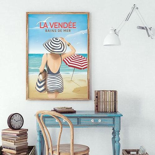 Affiche Bains de mer en Vendée