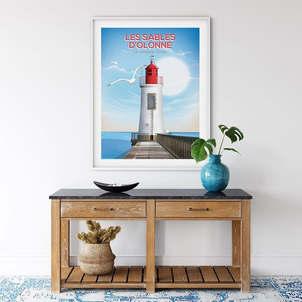 300 PIXELS Poster Affiche Le phare aux Sables d'Olonne