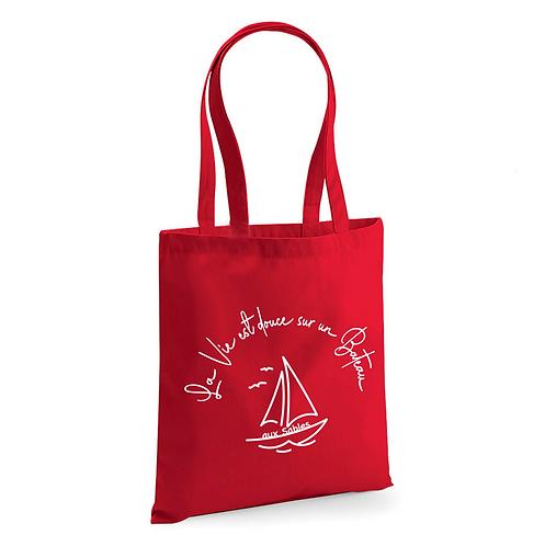Tote Bag Rouge Coton Bio - La vie en Bateau - Aux Sables