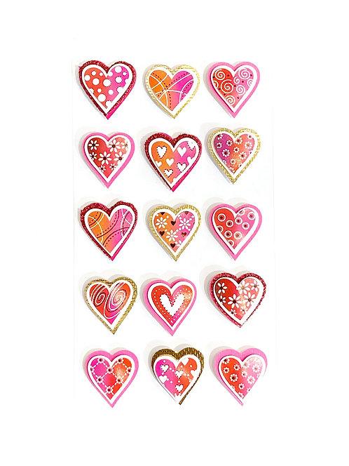 Stickers Artwork 3D - Coeurs