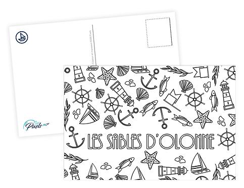 300 PIXELS - Carte à colorier - Les Sables d'Olonne