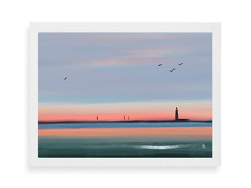 Affiche Noémie Labrosse - Levé de soleil sur le phare des Barges aux Sables