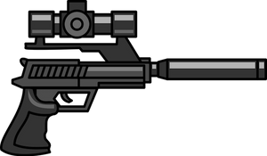 Image of a pistol with a scope and silencer.