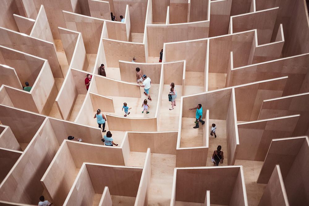 Labyrinth, Ausgang, suchen, Wissensnetz, finden, Irrgarten