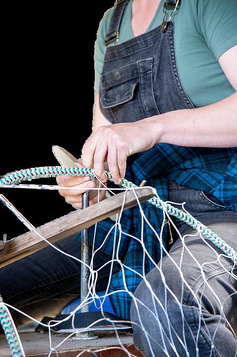 Marissa Wilson mending a net - Shipe Sho