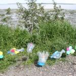 Marine debris art made by coastal cleanup volunteers last year.