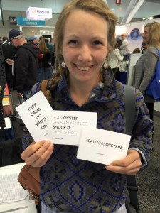 Bristol Bay fisherman, Mili Vukich, enjoys some of the marketing materials at the Boston Seafood Show.