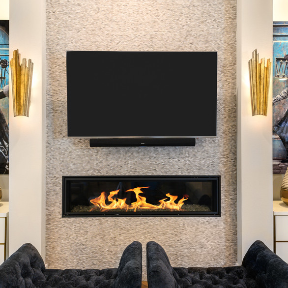 Unique Fireplace with Art